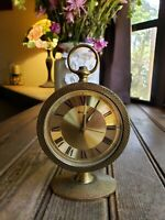 Vintage Brass Mechnical Alarm Clock Key Wind Up BULOVA Made In JAPAN Not Tested
