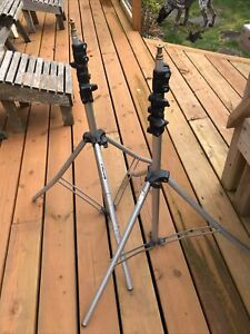 2x MANFROTTO BASIC LIGHT STAND (TRIPOD) 9'  MODEL 3333 MADE IN ITALY