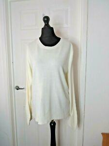 Marks & Spencer Ladies Cream Thin Knit Jumper Sweatshirt Crew Neck UK 18