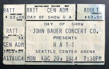 1984 Ratt Ticket Stub 8/20/84 Out of the Cellar Tour - Seattle Center Arena, WA.