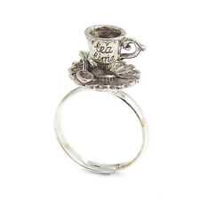 Alice in wonderland Tea cup RING TEACUP silver adjustable mad hatter party drink