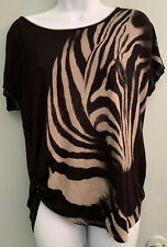 Skinny Minnie Woman's Zebra Face Lightweight Cap Sleeved Top Size Petite Large