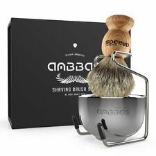 Anbbas Badger Hair Shaving Brush + Stainless Steel Shave Brush Stand and Bowl US