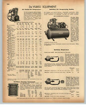 1942 PAPER AD De Vilbiss Air Compressor Air Cooled .25 to 10 HP Motor
