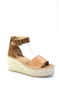 Soludos Womens Palermo Platform Wedge Ankle Strap Sandals Brown Size 8