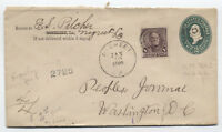 1895 Negreet LA registered cover 8ct small banknote [y3079]