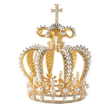 Charms Pearls & Crystal Tiaras Full Crown Party Prom Gold King Queen Headdress