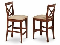 Set of 4 bar stools kitchen counter height chairs w/ padded seat in cherry brown