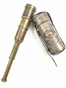 "Nautical Brass Victorian Telescope 18"" Spyglass Scope With Leather Case"