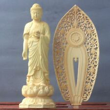 Old Chinese Boxwood hand-carved Buddha with lotus base figure statue