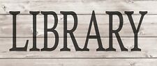 LIBRARY Metal Sign Wood Look Rustic Wall Decor Retro Man cave 5x12 SS47