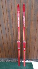 """Vintage Wooden 72"""" Long Skis RED Finish Signed AVENTURE"""