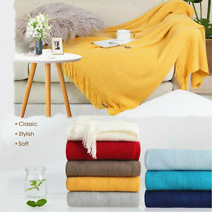 """Blankets Throws Knitted Tassel Scarf Soft Blanket Sofa Bed Decorative 50''x60"""""""