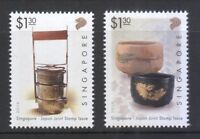 SINGAPORE 2016 JAPAN JOINT ISSUE POTTERY COMP. SET OF 2 STAMPS MINT MNH UNUSED
