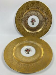 Set of 2 Antique Royal Bavarian Stouffer Studio Heavy Gold Decorated Plates