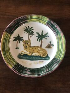 VHTF Anthropologie Dinner Plate NATHALIE LETE Leopard Palm Trees Pyramid French