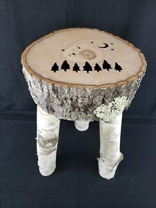 "Handmade Real Birch Wood 3 Legged Stool Cabin Furniture Trees Stars Moon 20""H"