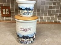 Longaberger Pottery Crocks Homestead Village Scene Set of 2 STUNNING