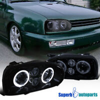 For 1993-1998 Golf MK3 Smoke Dual Halo Projector Headlight Glossy Black Pair