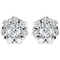 2.06 ct 14k Gold Cluster Stud Earrings Round cut DIAMONDS G-H color SI1 clarity