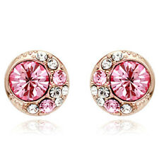 Rose Gold Finish Stud Earrings With Clear Cubic Zirconias Quality Jewellery UK