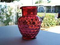 ANTIQUE VICTORIAN HAND BLOWN COIN SPOT CRANBERRY GLASS PITCHER TRUE ART GLASS