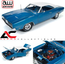 AUTOWORLD AMM1100 1:18 1969 DODGE CHARGER HEMMINGS BLUE W/ WHITE TOP
