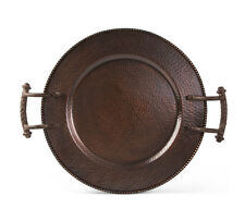 The GG Collection Hammered Antique Copper Finish Metal 15.8in D Round Tray