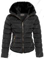taglia 8 10 12 14 16 Womens trapuntato Donna Collo In Pelliccia cappotto giacca