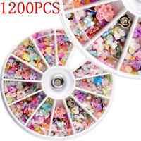 1200PCS Modish 3D Mixed Nail Art Tips Glitters Rhinestones Slice DIY Decor Wheel