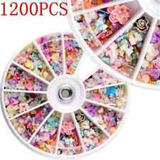 1200PCS Cute 3D Mixed Nail Art Tips Glitters Rhinestones Slice DIY Decor Wheel