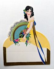 Vintage Bridge Game Tally -- Art Deco Spanish Dancer w/ Large Hand Fan
