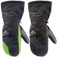 Arctic Cat Youth 100 gram Insulated Leather Palm High Cuff Mitts - Green Black