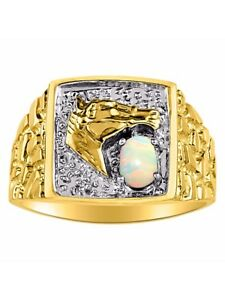 Diamond & Opal Ring 14K Yellow or 14K White Gold Lucky Horse Head MR3030OPY-C