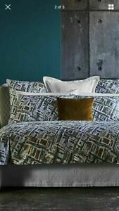 $275 FRETTE MALACHITE GOLD ABSTRACT COTTON SATEEN QUEEN DUVET COVER ITALY NEW
