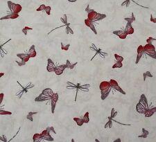 La Vie En Rose Santoro BTY Butterflies Dragonflies on Light Cream