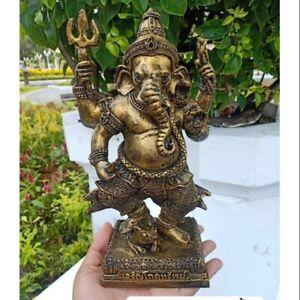 Hindu Ganesha Ganesh Brass Statue Elephant God Buddha Amulet