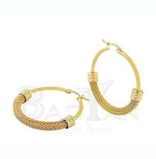 YELLOW GOLD FILLED PLATED TEXTURED SMOOTH BIG HOOP EARRINGS 29mm