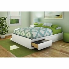 Bed Frame With Storage Full Size With Drawers Platform 3 White Contemporary NEW