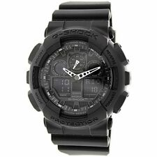 New Casio G-Shock GA-100-1A1 Analog Black Resin Strap Mens Watch