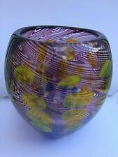 Large Feathered Glass AMBER Green Globe Vase 3.9 KG  Scandinavian?