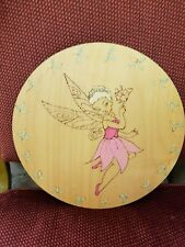 Handmade Pink flower fairytale solid Wood Round home wall hanging Sign,Christmas