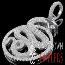 "10K White Gold Tone King Cobra Simulated Diamond 3D Pendant Charm 4CtW 2"" Men's"