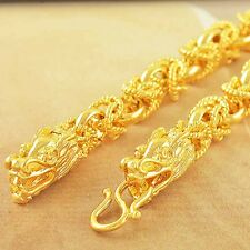 Mens Dragon Bracelet Gold Plated Wide 8mm Cool cuff Fashion Jewelry