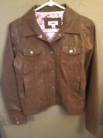 Cato Womens Size S Faun Leather Jacket Coat Brown Snap Front