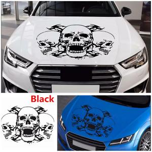 Car Truck Hood Sticker Interesting Triple Skull Vinyl Decal Black Decor 39x60cm