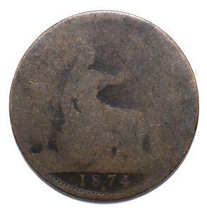 1874 H, UK, 1 Penny, Victoria, Poor, Bronze, KM# 749, Lot [880]