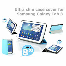 """Premium leatherette ultra slim case cover stand for Samsung Tab 3 8"""" inch"""
