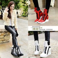 New womens hidden wedge high top fashion sneaker lace up ankle boots shoes Size