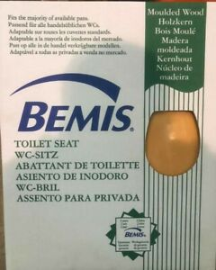 Bemis Moulded Wood Brown Toilet Seat Chrome Hinges Heavy Duty